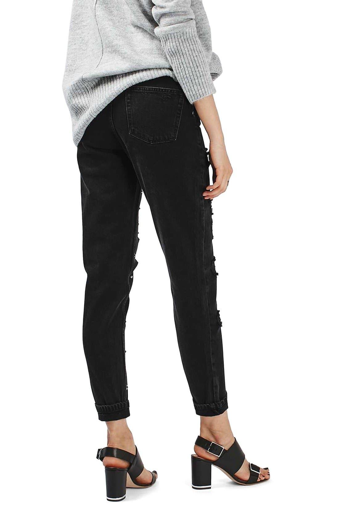 Alternate Image 3  - Topshop Moto Mom Studded Super Ripped Jeans