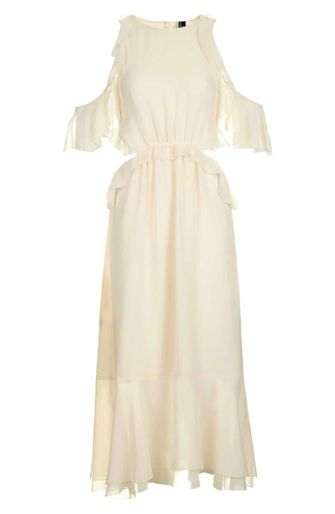 Main Image - Topshop Ruffle Open Back Midi Dress