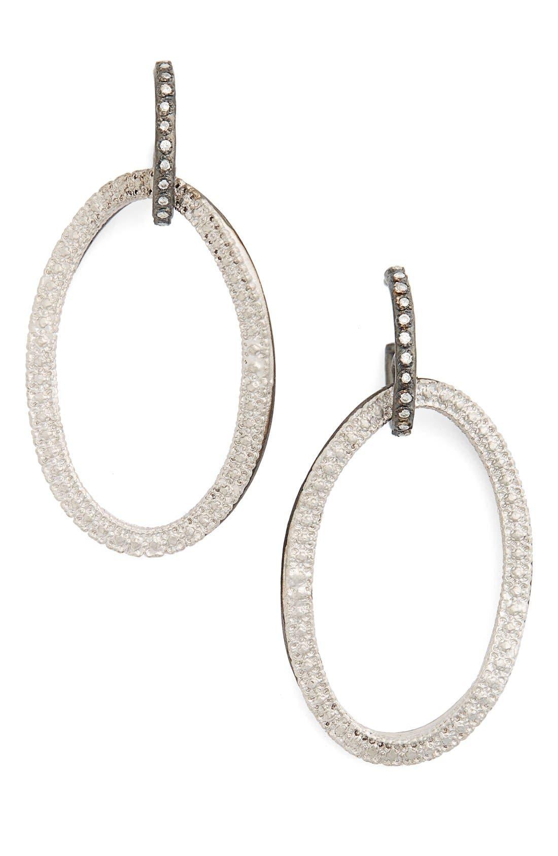 Armenta Old World Midnight Frontal Hoop Diamond Earrings