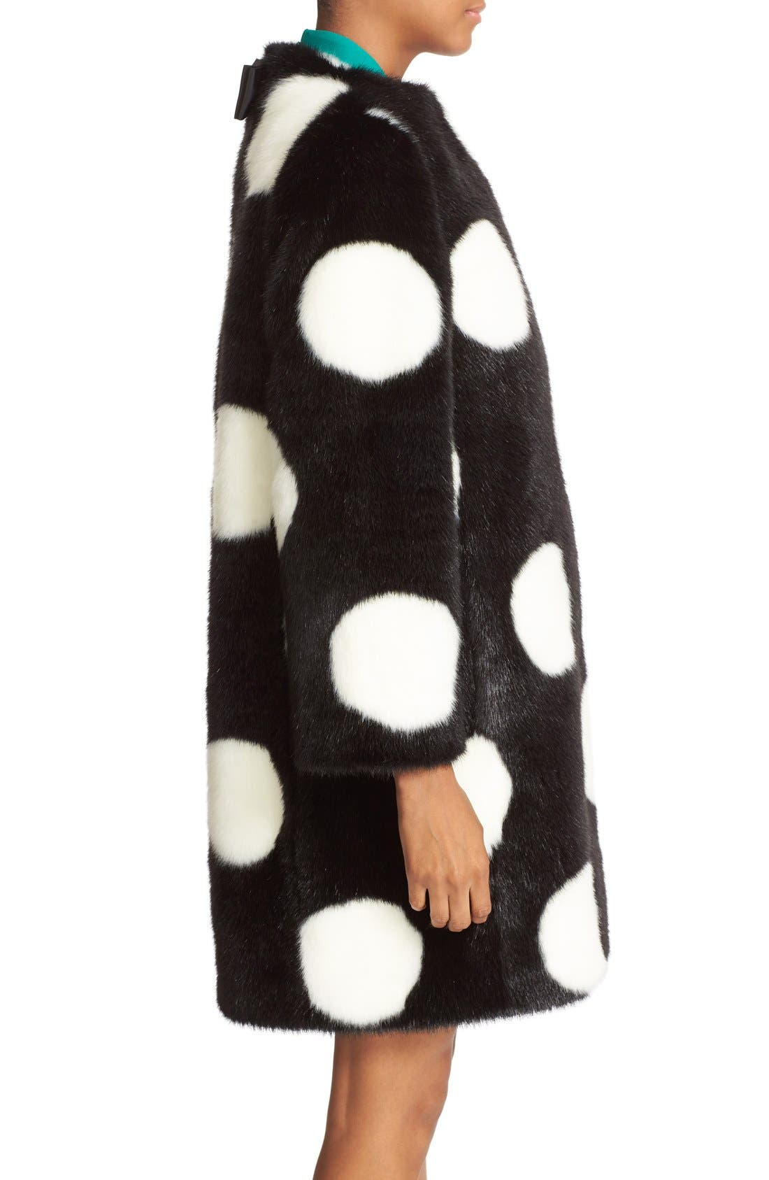 Alternate Image 4  - kate spade new york polka dot faux fur coat