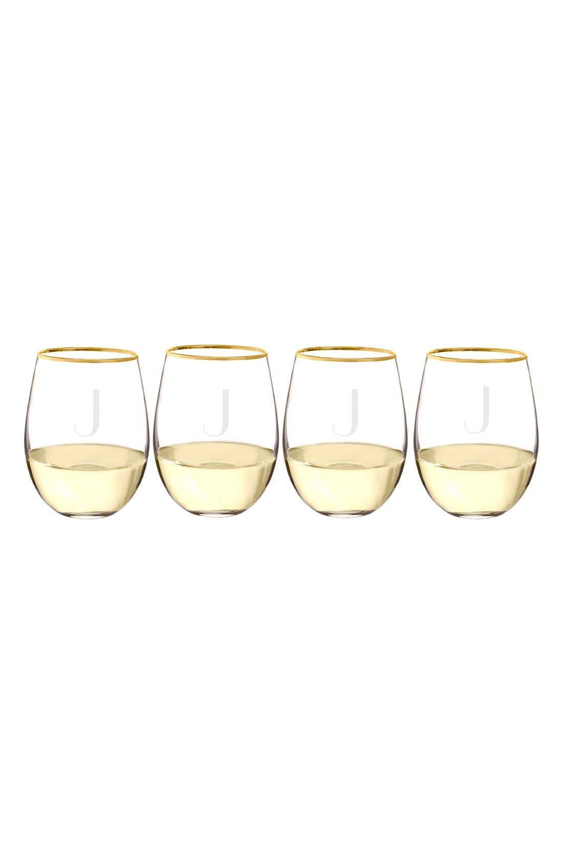 Cathy's Concepts Set of 4 Monogram Gold Rim Stemless Wine Glasses