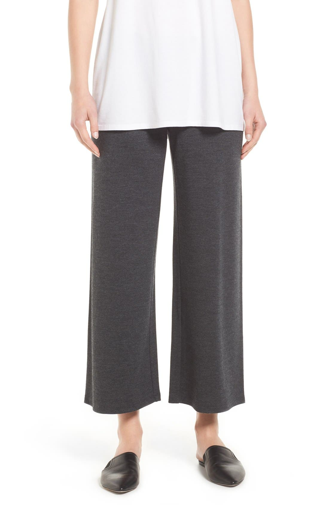Eileen Fisher Wool Jersey Wide Leg Ankle Pants (Regular & Petite)