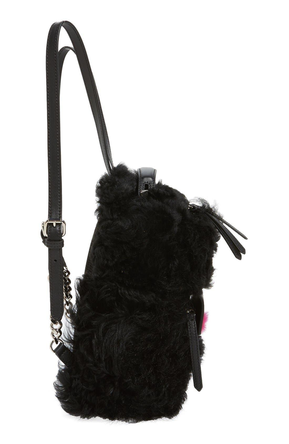 Alternate Image 5  - Fendi 'Mini Monster' Genuine Shearling & Genuine Mink Fur Backpack