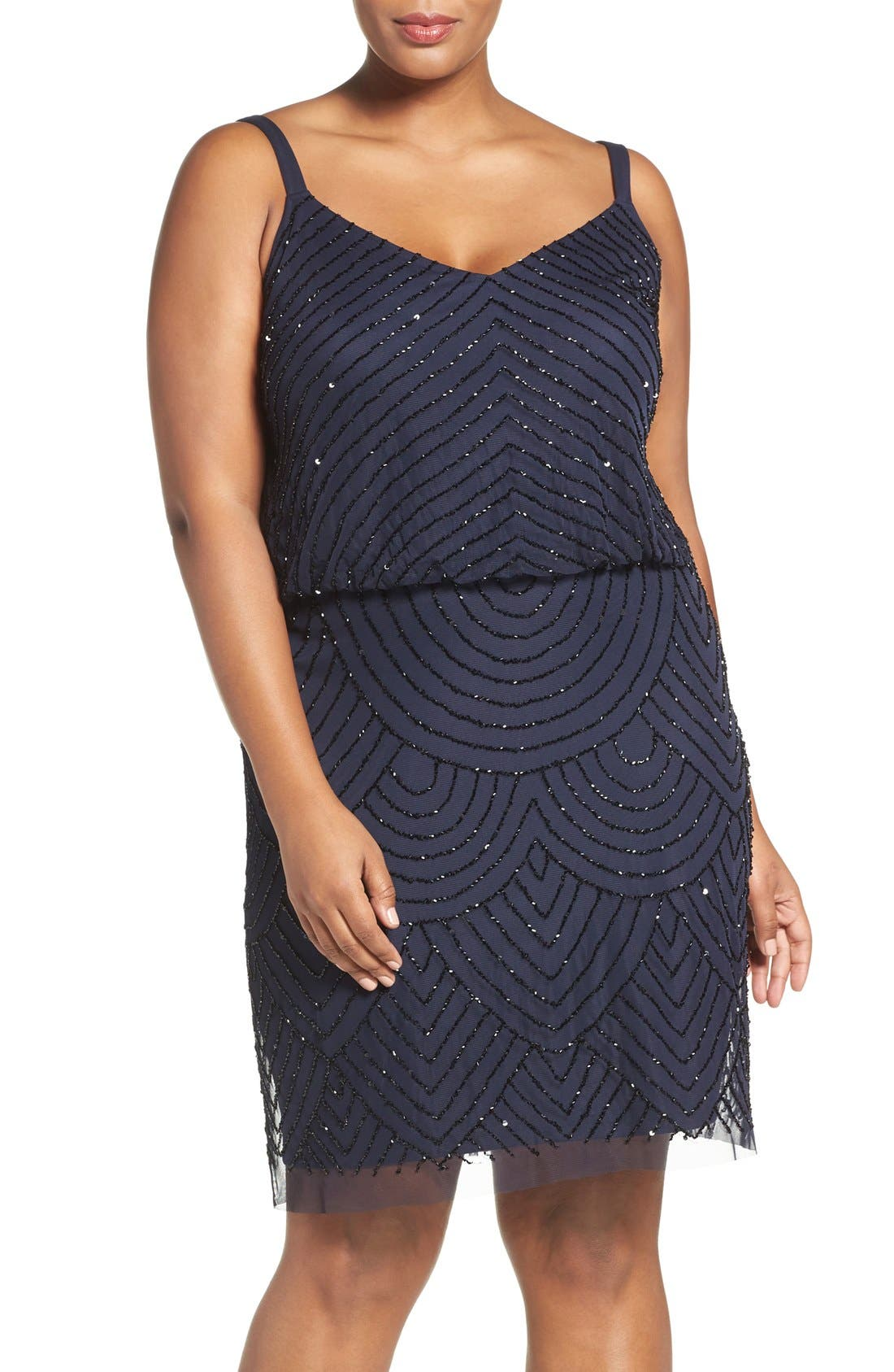 ADRIANNA PAPELL Beaded Blouson Tank Dress