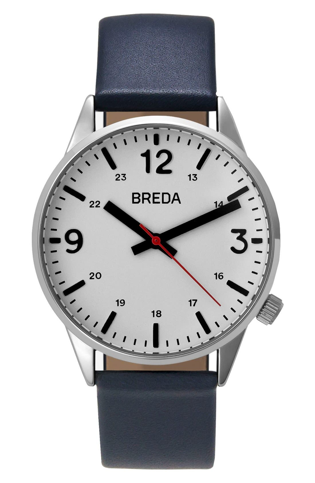 BREDA Slate Round Leather Strap Watch, 41mm