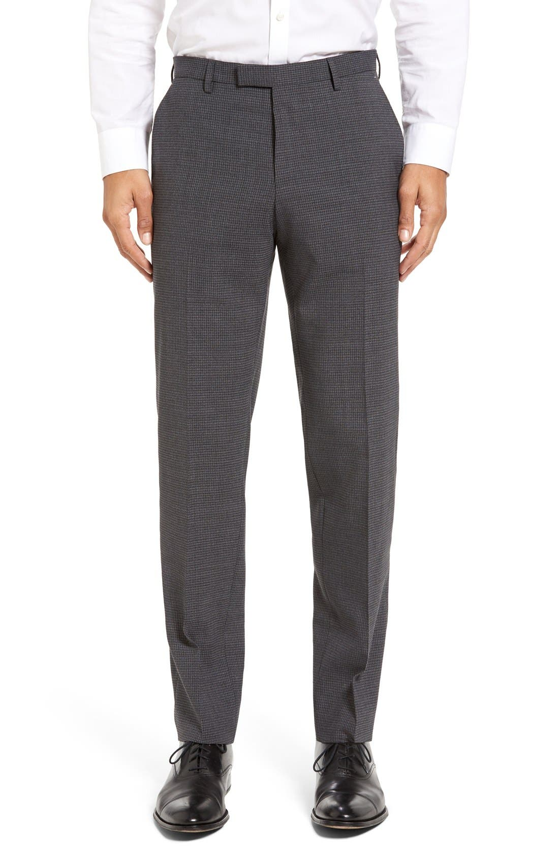 BOSS Leenon Flat Front Check Wool Blend Trousers