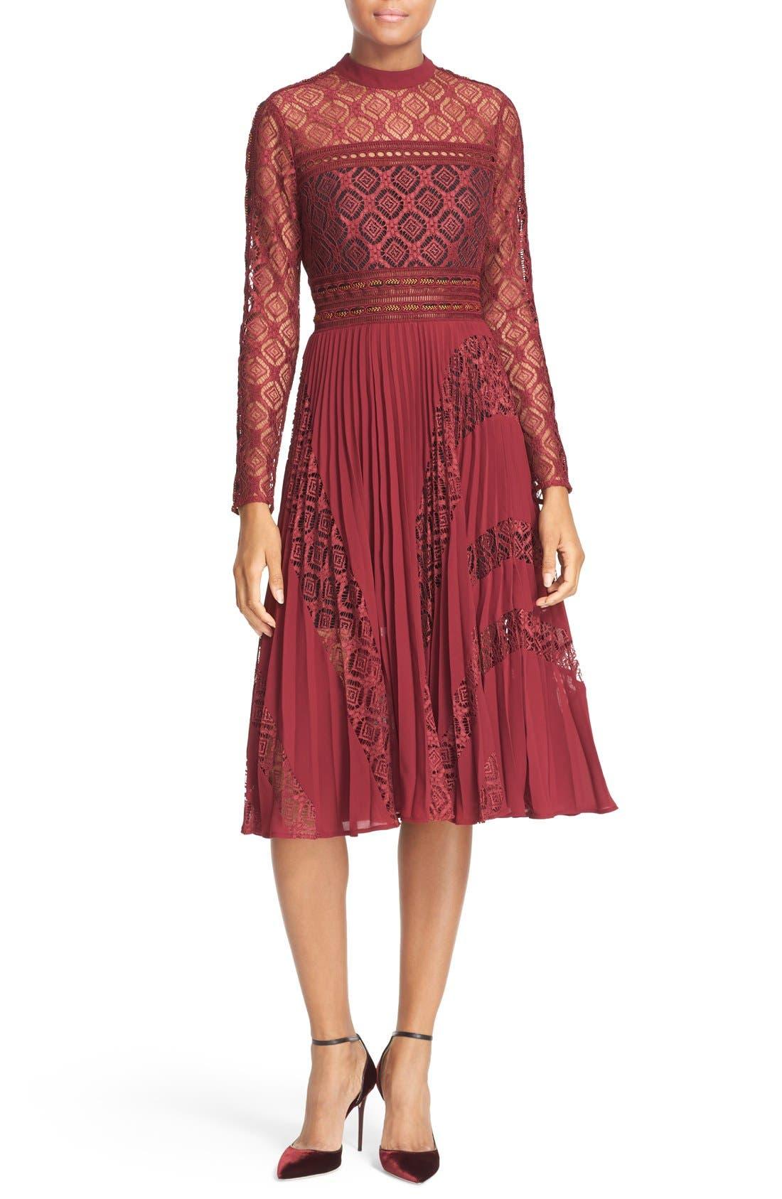 Alternate Image 1 Selected - Self-Portrait Symm Lace & Chiffon Midi Dress