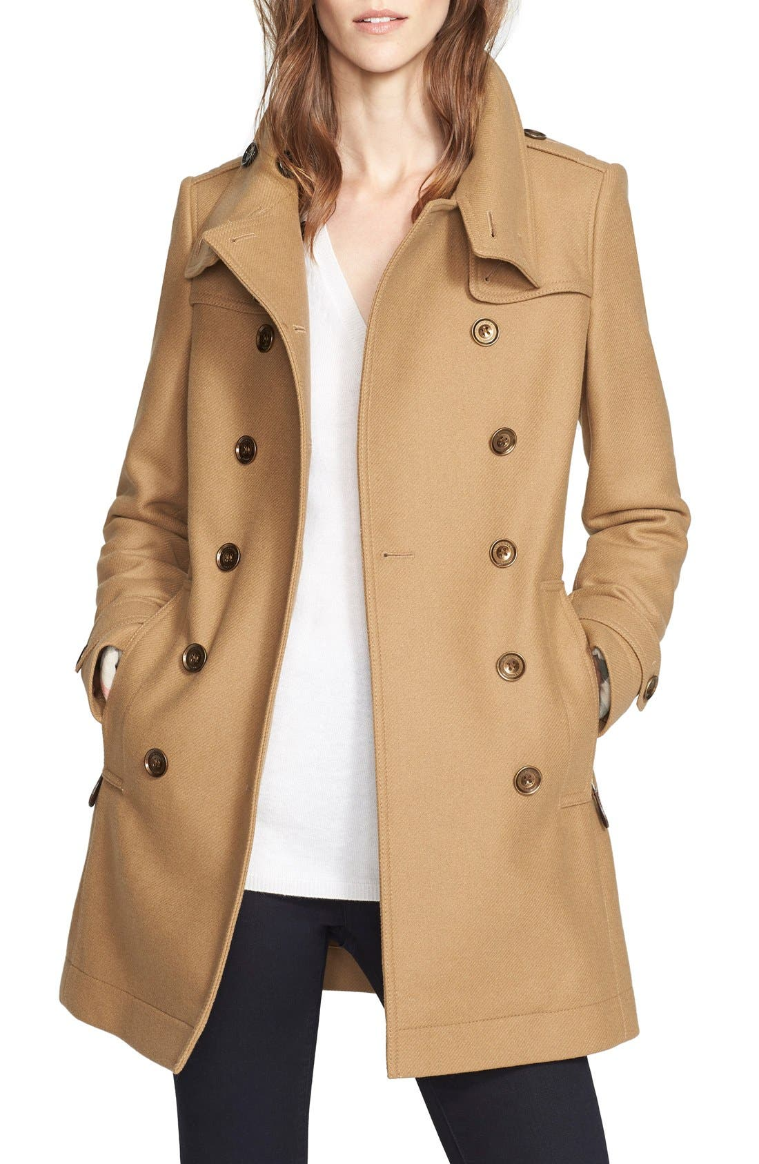 Main Image - Burberry Daylesmoore Wool Blend Double Breasted Trench Coat