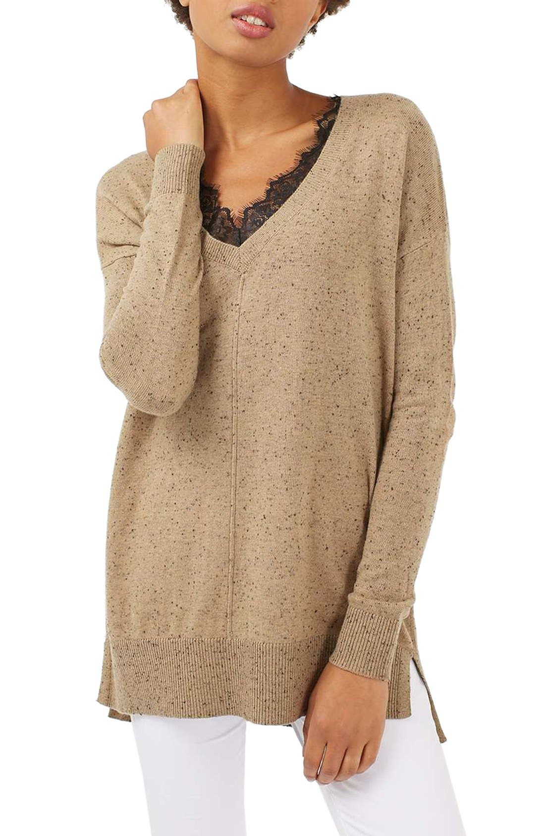 Main Image - Topshop Lace V-Neck Sweater Tunic