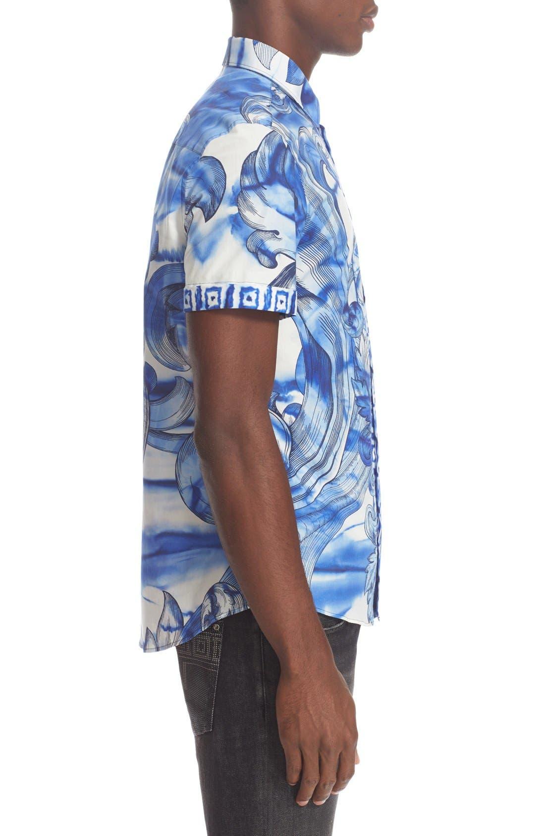 Alternate Image 4  - Versace Collection Trim Fit Tie Dye Short Sleeve Sport Shirt