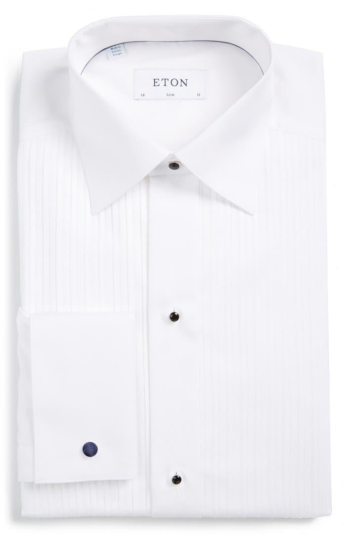 David donahue trim fit twill french cuff tuxedo shirt for Extra slim tuxedo shirt