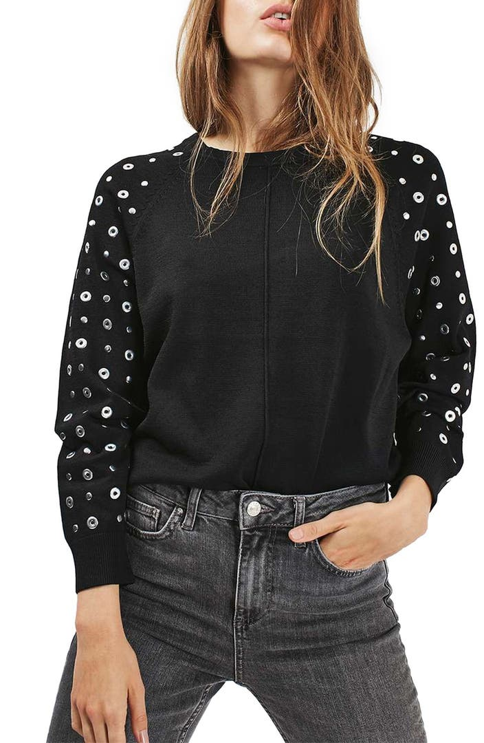 Topshop Grommet Stud Sleeve Sweater Nordstrom