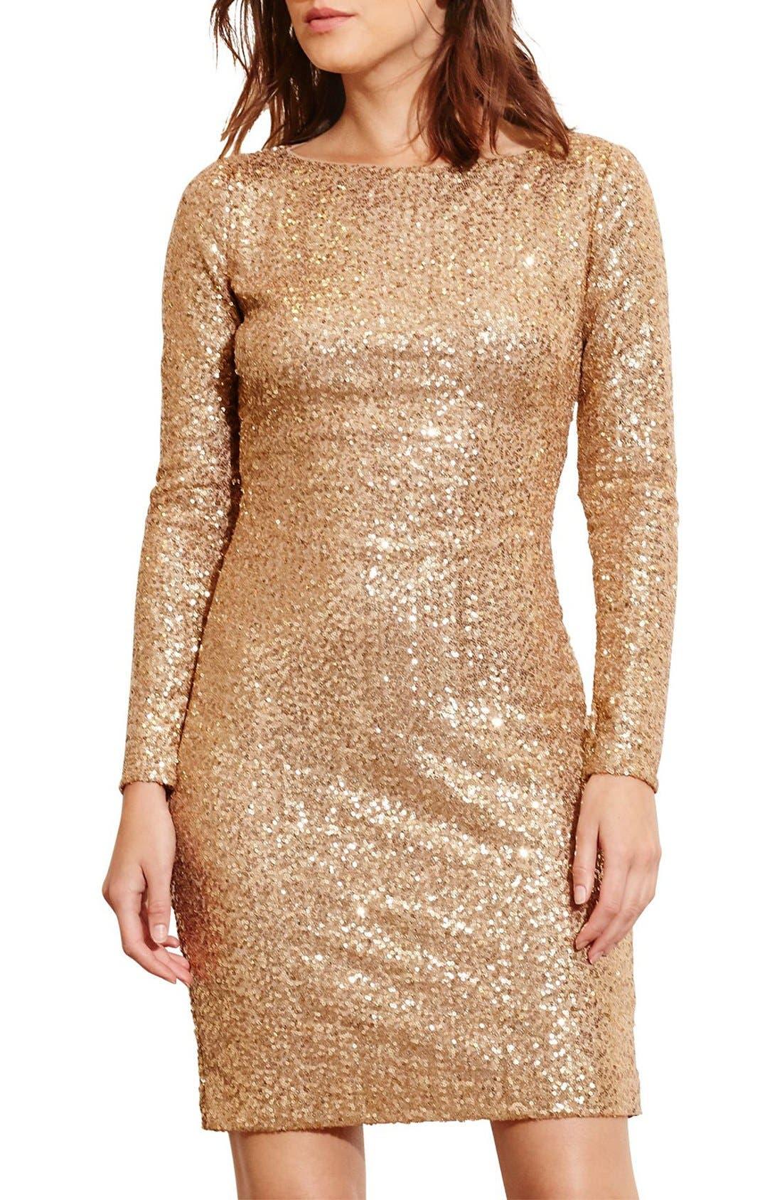 Main Image - Lauren Ralph Lauren Backless Sequin Dress (Petite)