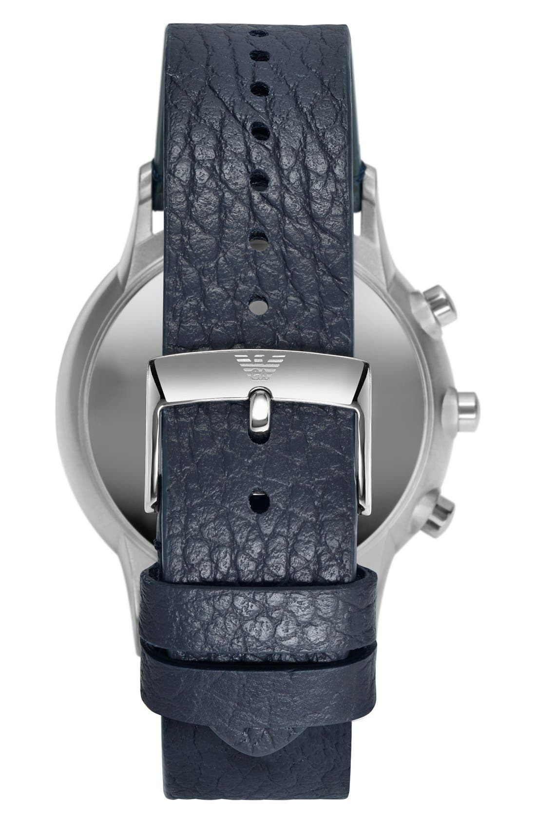 Alternate Image 2  - Emporio Armani Leather Strap Hybrid Smart Watch, 43mm