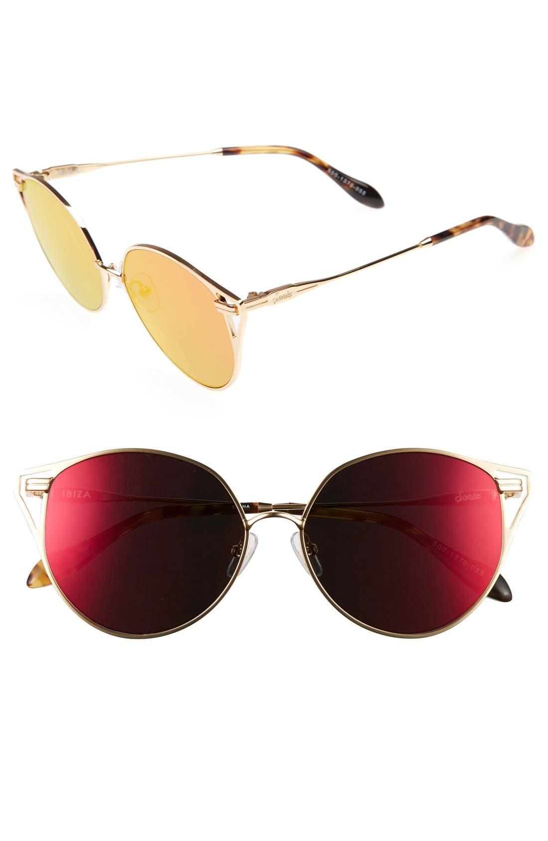 Sonix Ibiza 55mm Mirrored Round Sunglasses