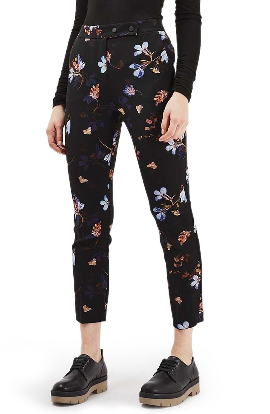 Alternate Image 1 Selected - Topshop Floral Print Cigarette Pants