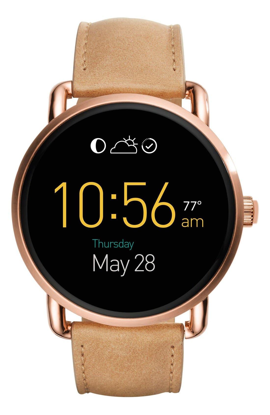 Fossil Q Wander Leather Strap Digital Smart Watch, 45mm