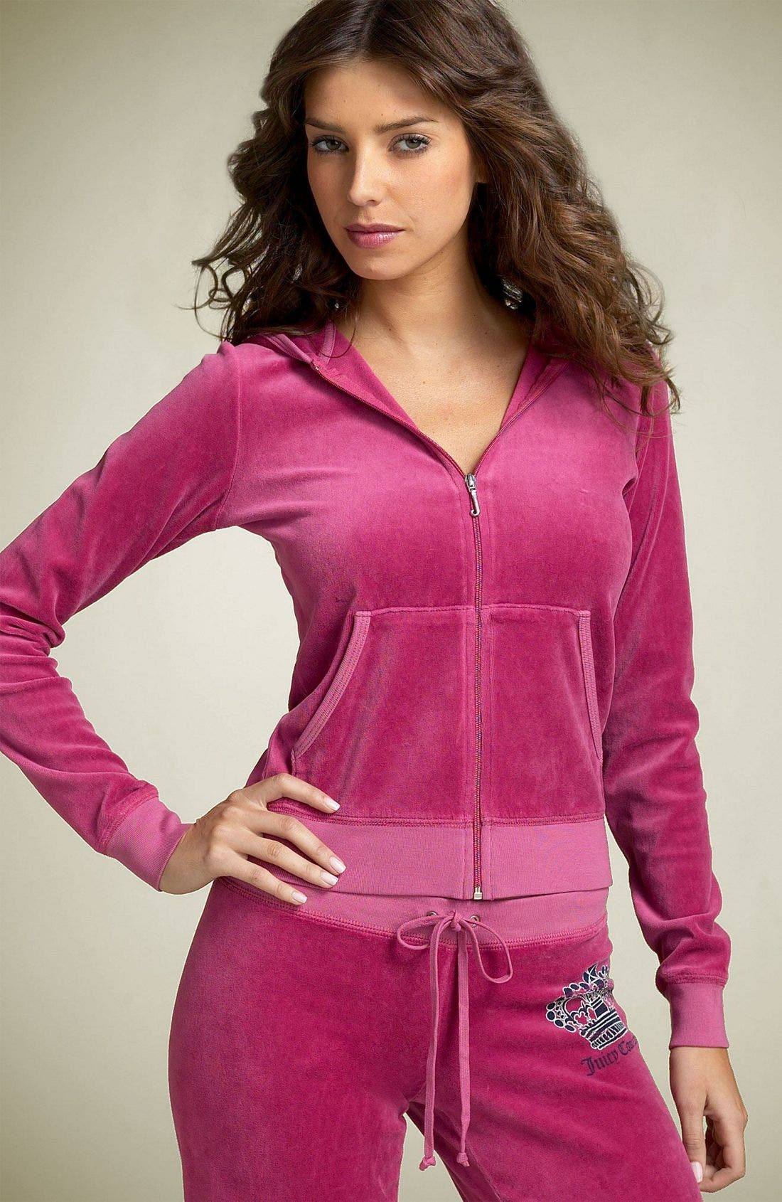 Alternate Image 2  - Juicy Couture Crown Logo Velour Hoody (Nordstrom Exclusive)