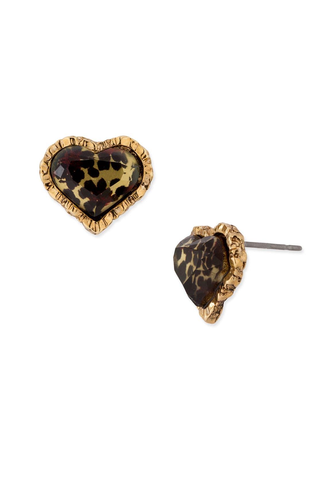 Alternate Image 1 Selected - Betsey Johnson Leopard Heart Stud Earrings