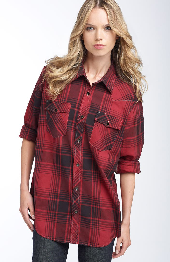 Just a cheap shirt plaid flannel boyfriend tunic nordstrom for Where to buy cheap plaid shirts