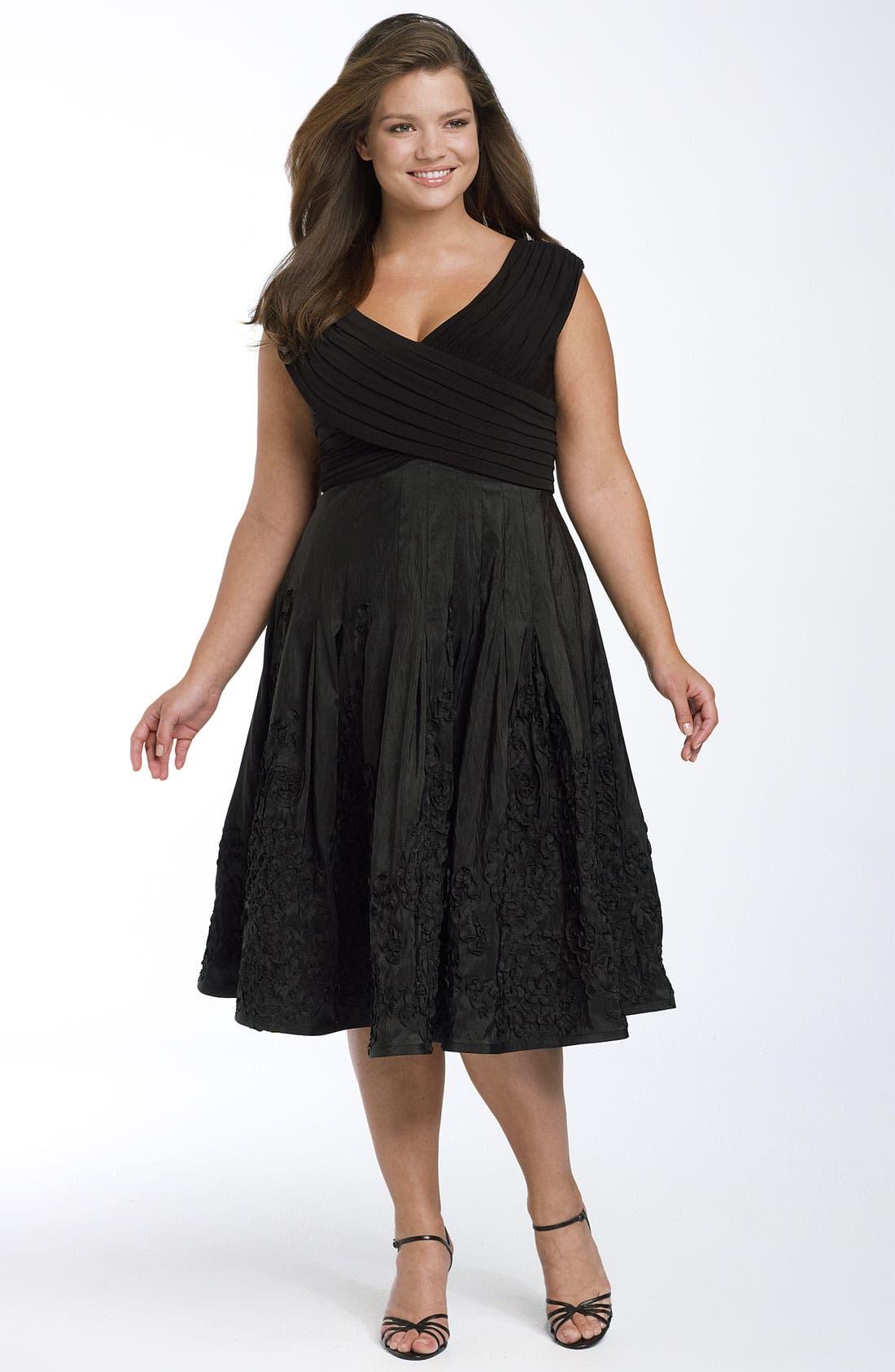 Alternate Image 1 Selected - Adrianna Papell Matte Jersey & Taffeta Party Dress (Plus)