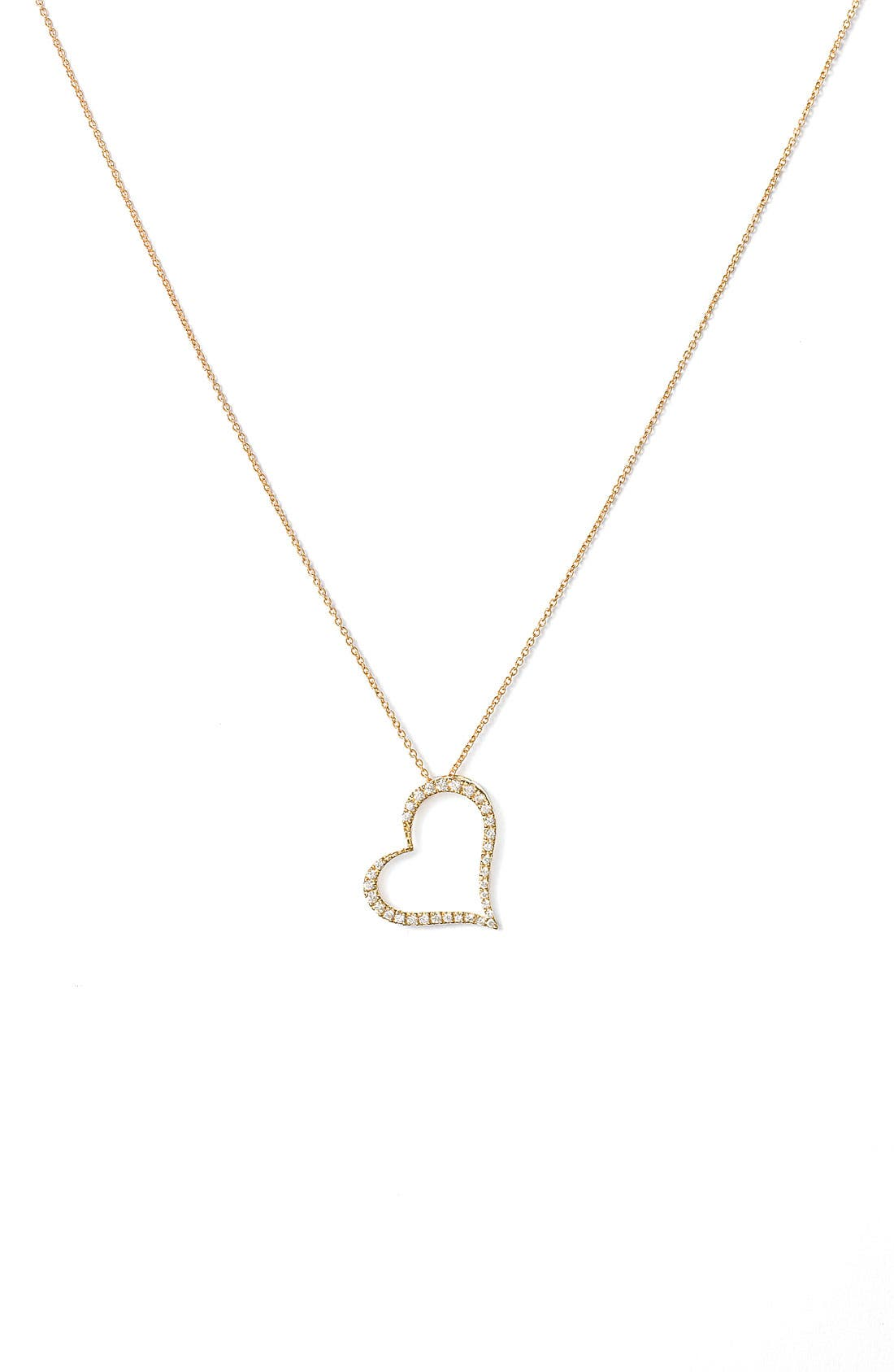 Main Image - Roberto Coin Slanted Diamond Heart Pendant Necklace