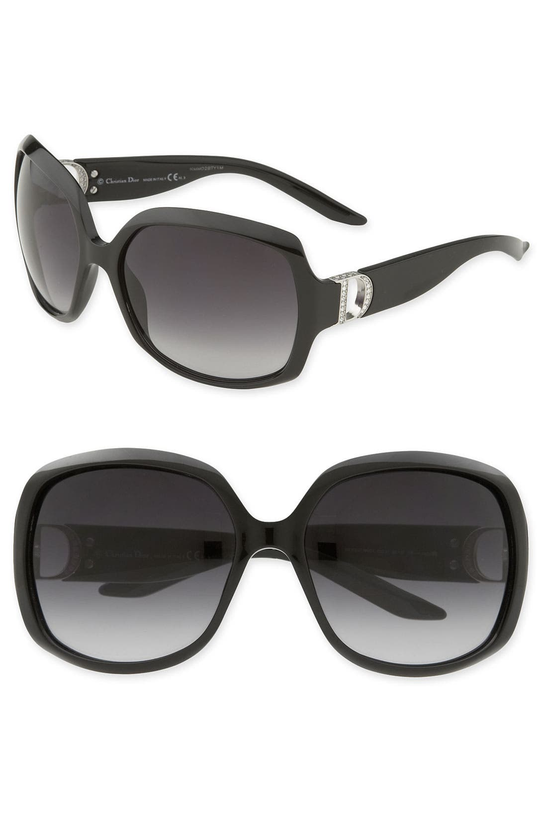 Main Image - Dior 'Evening'  Logo Temple Oversized Square Sunglasses