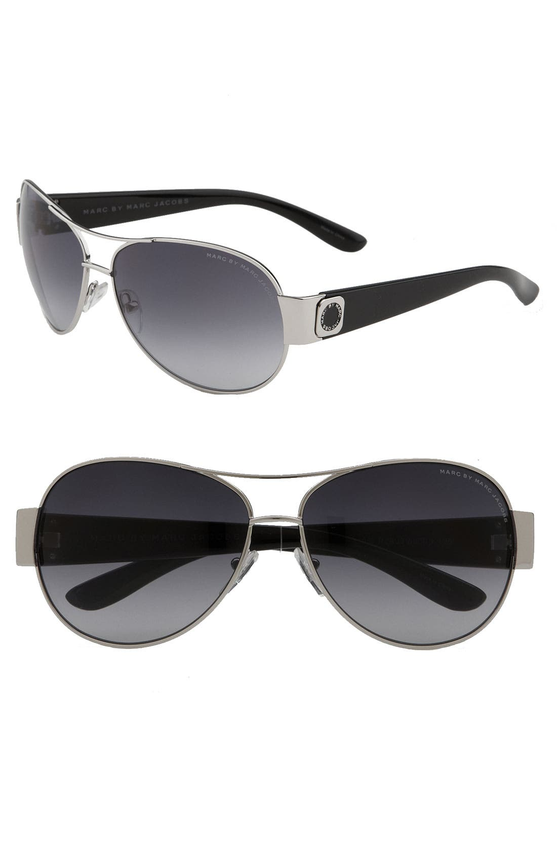 Main Image - MARC BY MARC JACOBS 60mm Metal Aviators with Resin Temples
