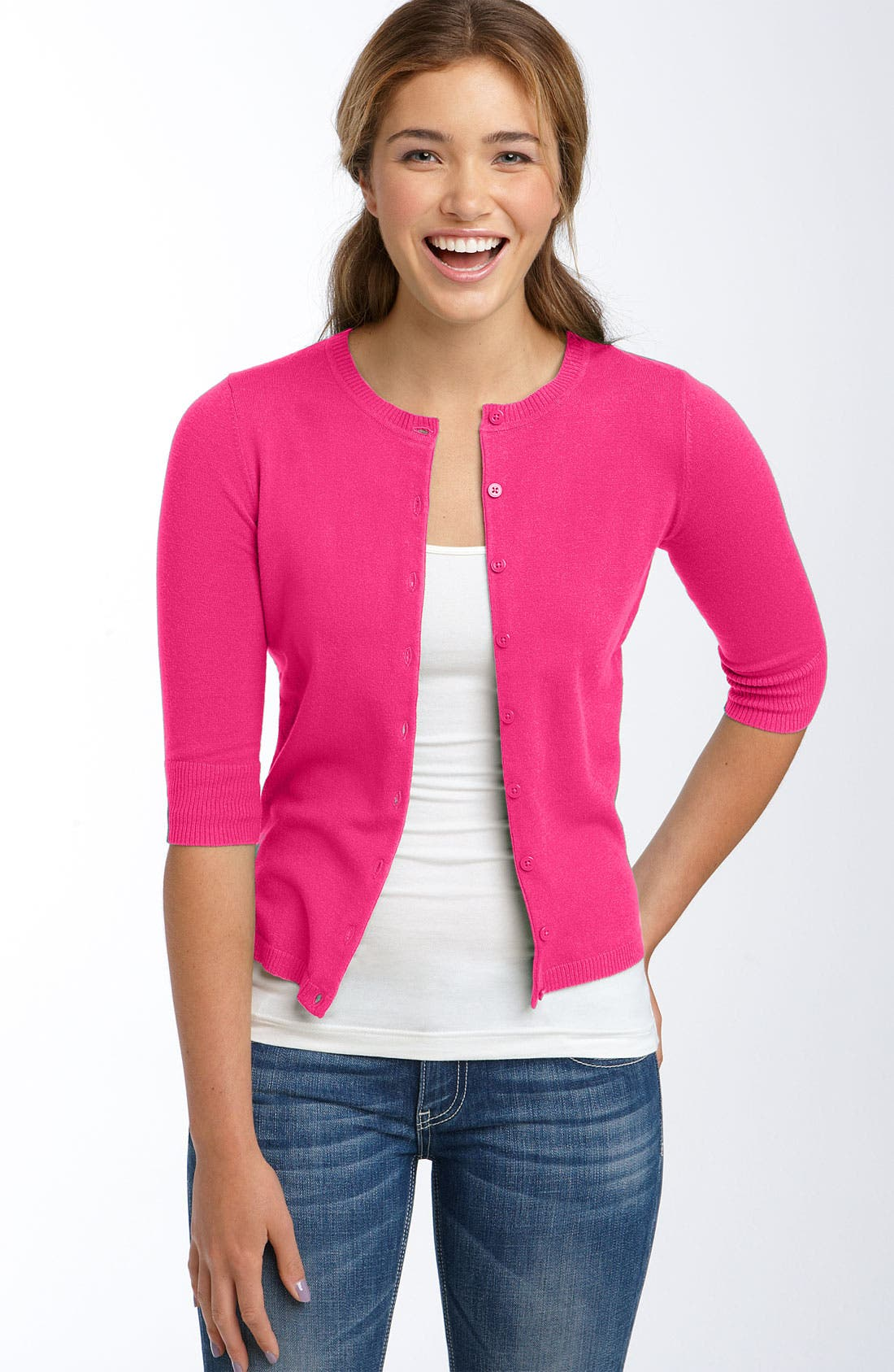 Alternate Image 1 Selected - BP. Three Quarter Sleeve Jersey Cardigan (Juniors)