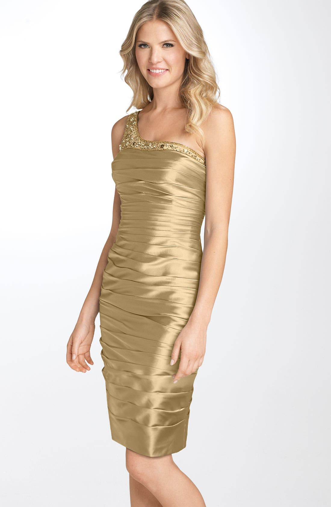 Alternate Image 1 Selected - Adrianna Papell One Shoulder Ruched Satin Dress