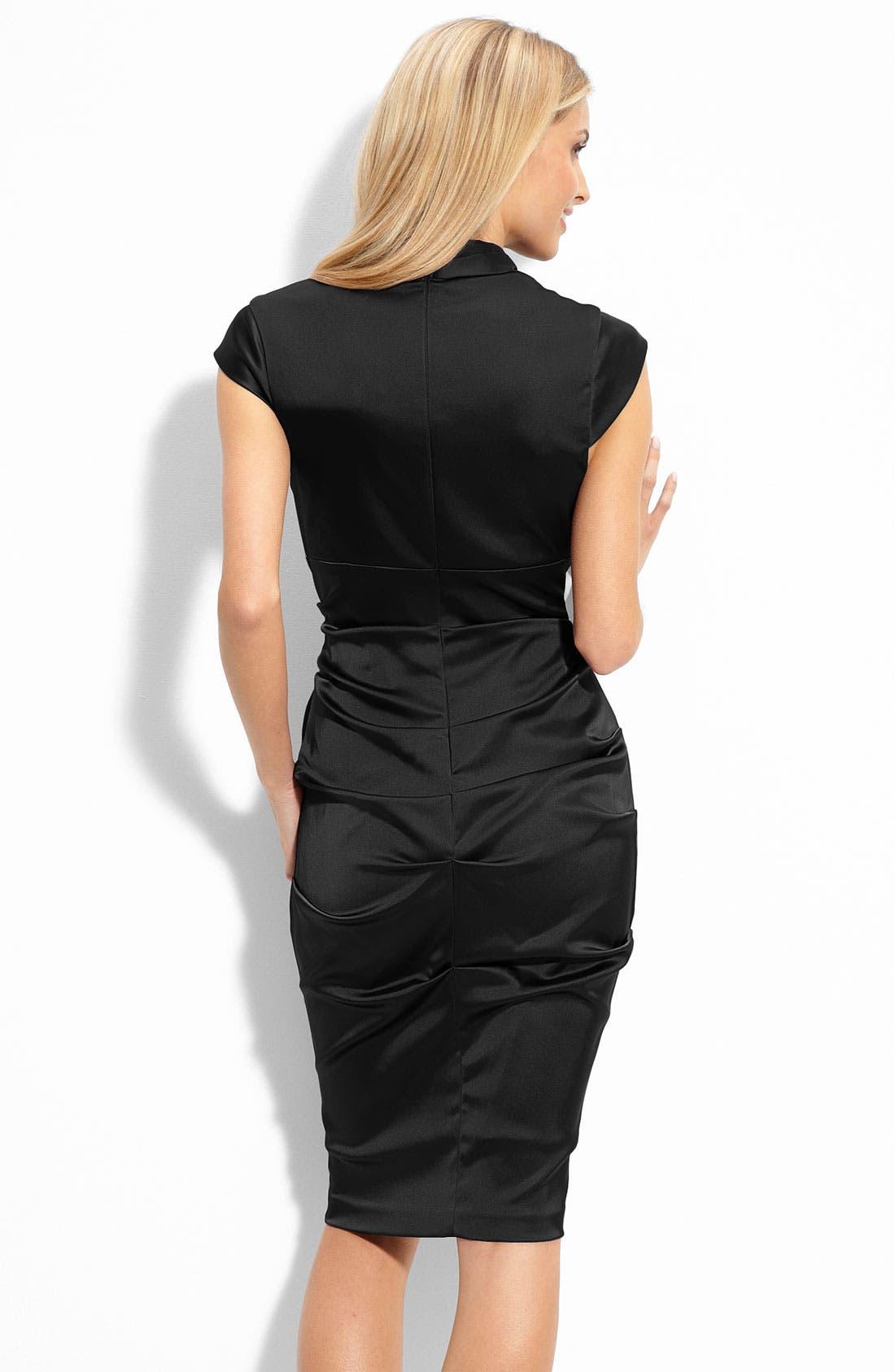 Alternate Image 2  - Xscape Pleated Stretch Satin Sheath Dress
