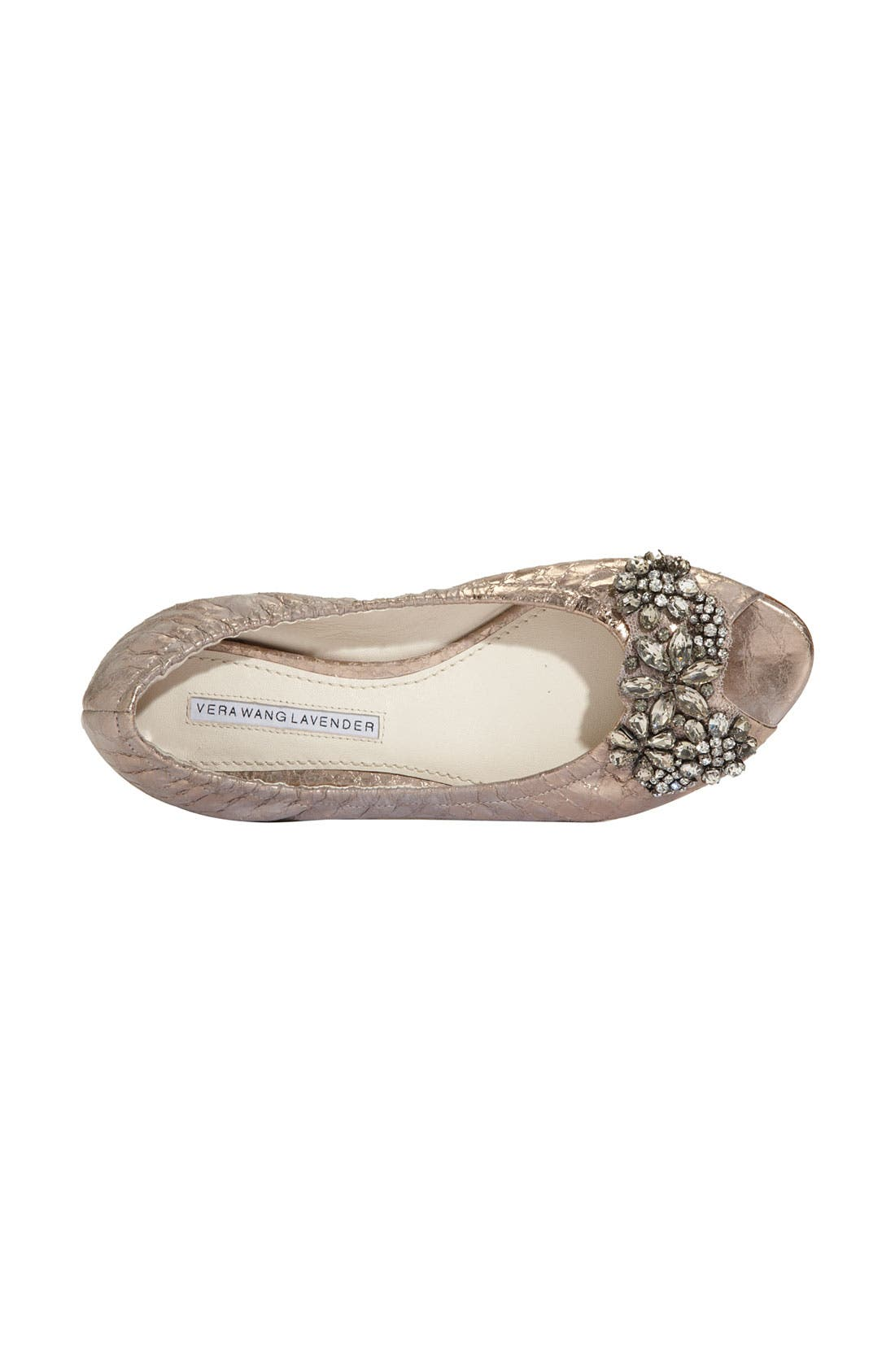 Alternate Image 3  - Vera Wang Lavender 'Luna' Snake Embossed Metallic Leather Flat