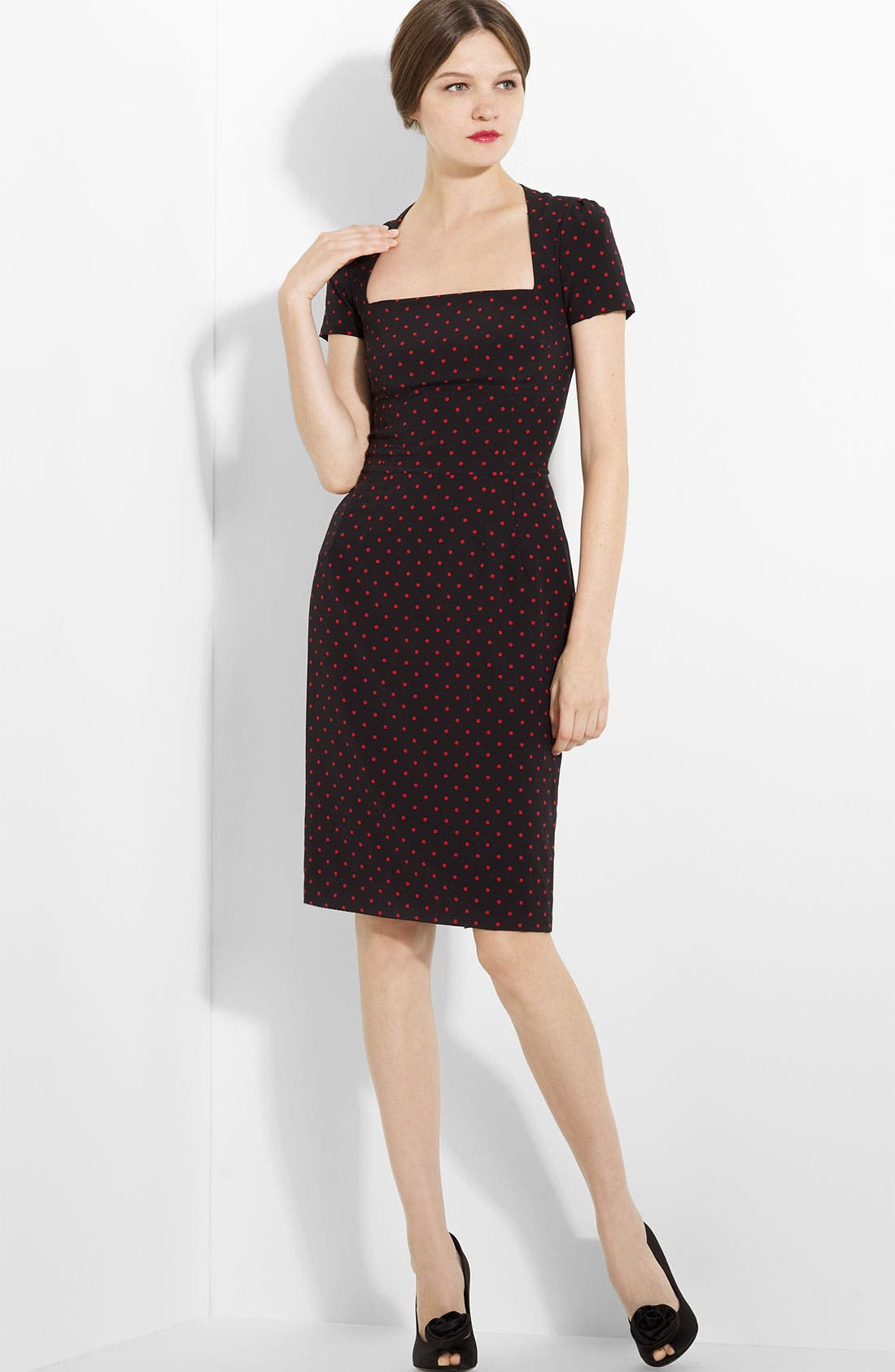 Main Image - Dolce&Gabbana Polka Dot Stretch Charmeuse Dress