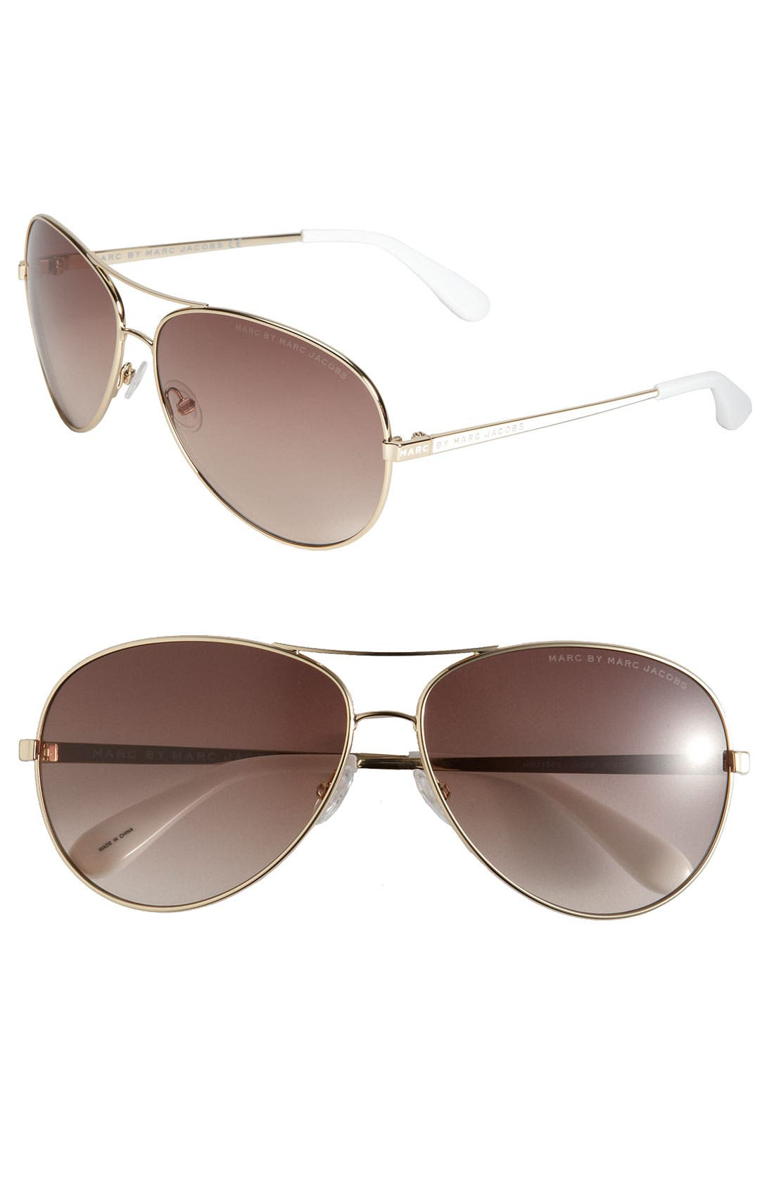 Alternate Image 1 Selected - MARC BY MARC JACOBS 60mm Metal Aviator Sunglasses