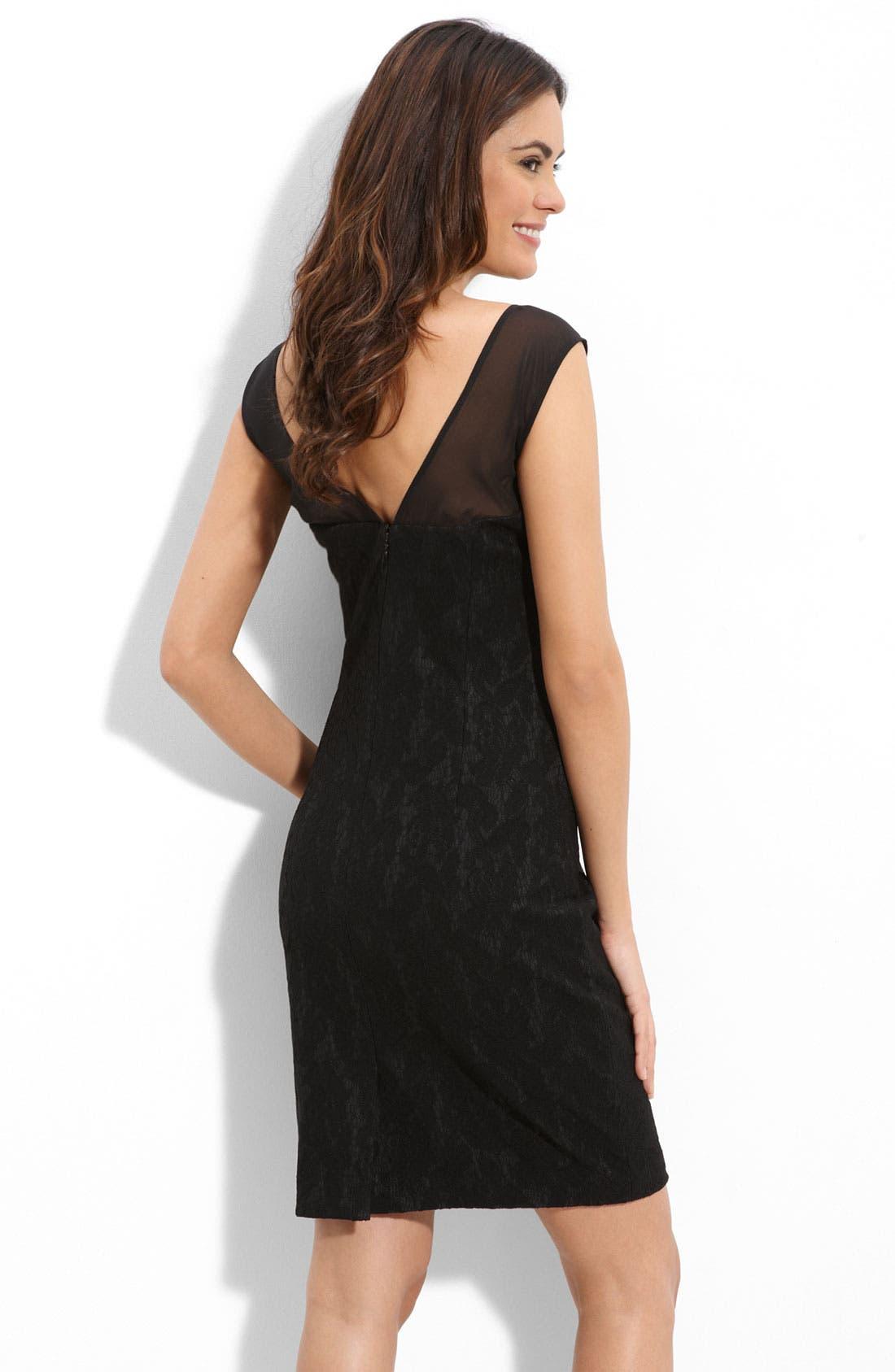 Alternate Image 2  - Suzi Chin for Maggy Boutique Illusion Bodice Lace Sheath Dress (Petite)