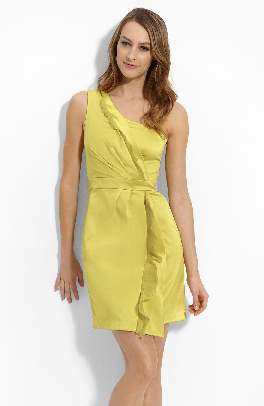 Alternate Image 1 Selected - Max & Cleo One Shoulder Stretch Satin Dress