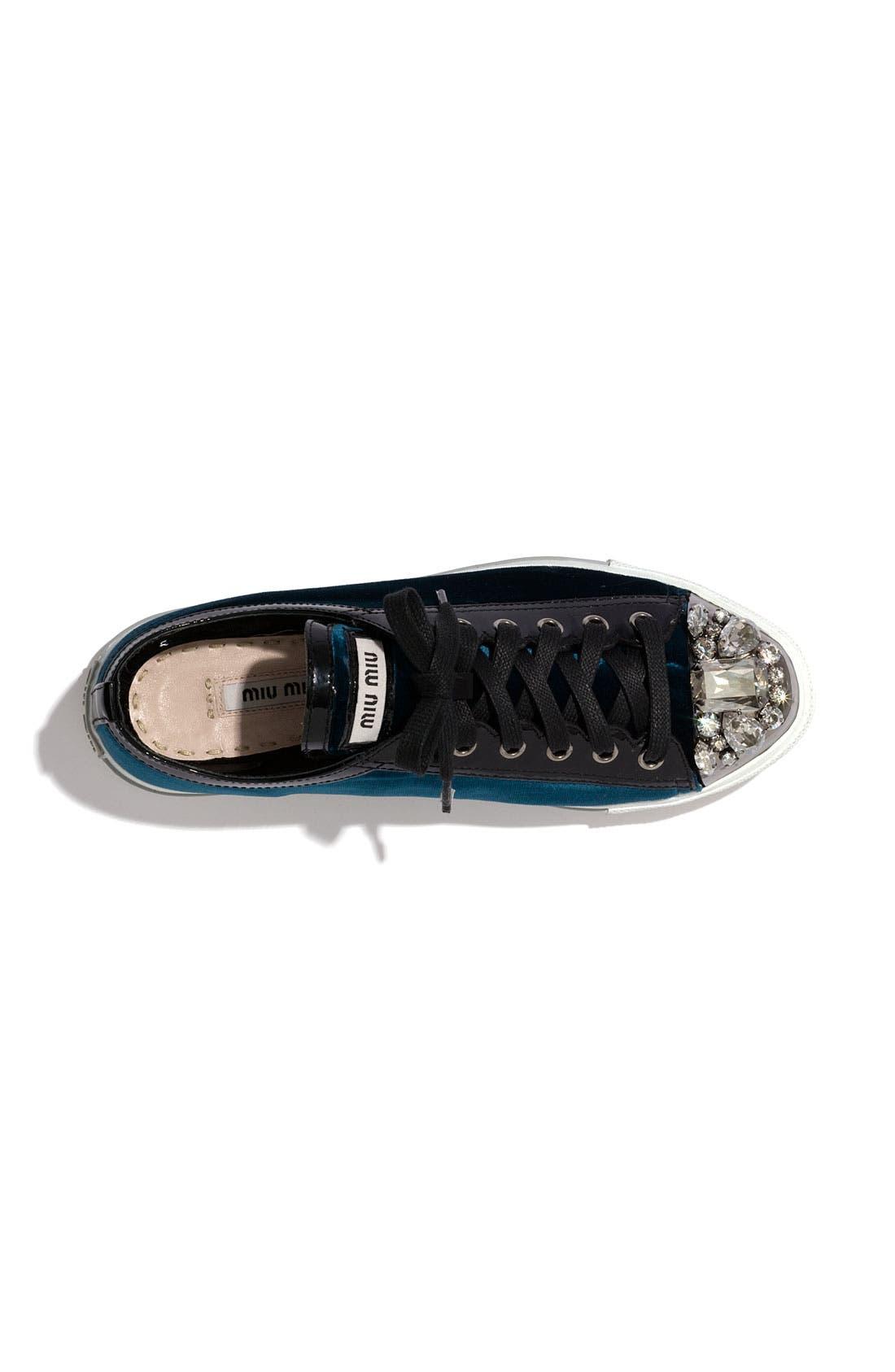 Alternate Image 2  - Miu Miu Embellished Velvet Sneaker