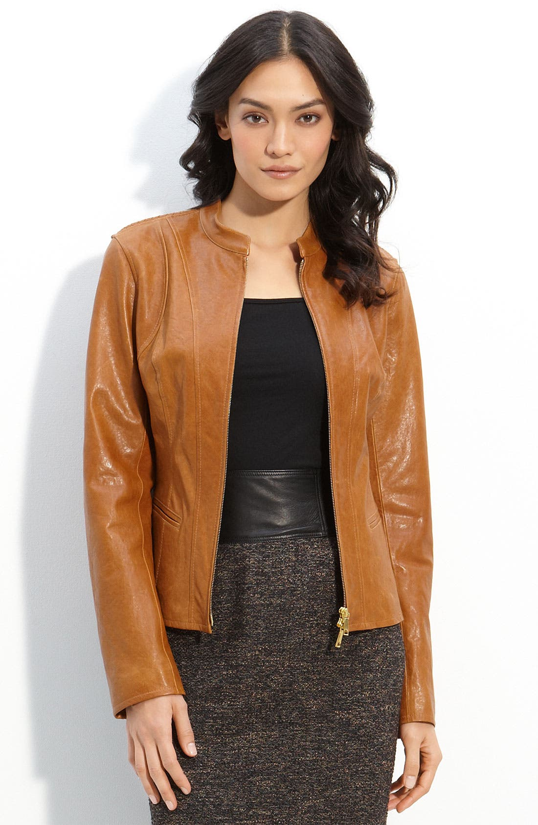 Main Image - Lafayette 148 New York Lambskin Leather Jacket
