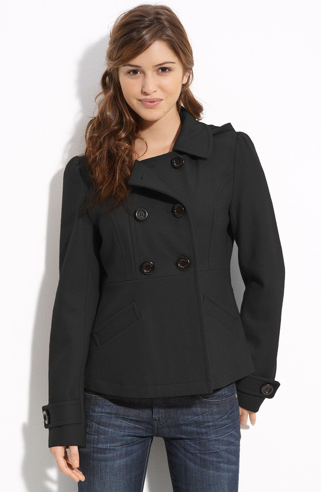 Main Image - Tulle 'Kate' Double Breasted Peacoat (Juniors)
