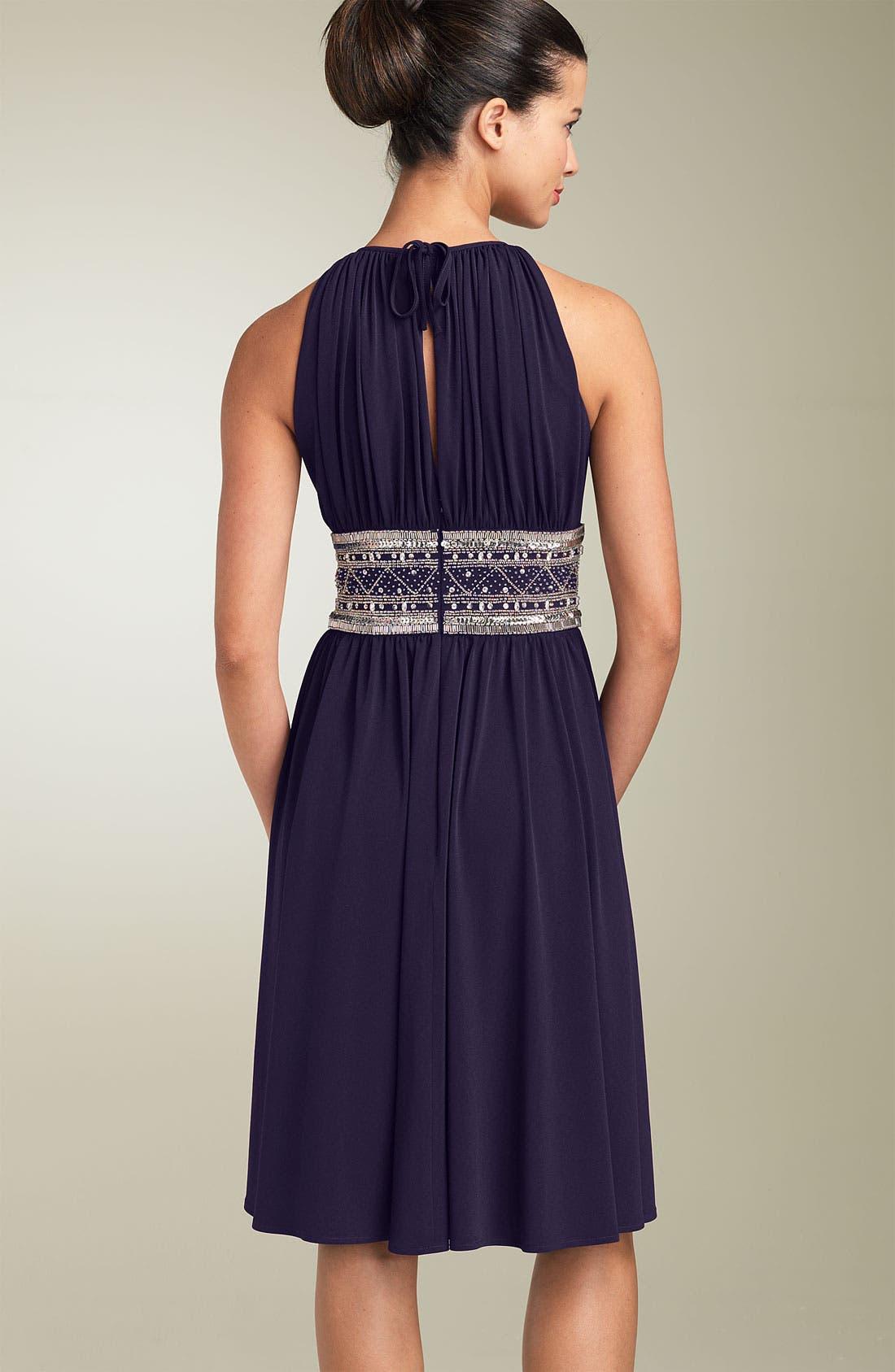 Alternate Image 2  - JS Boutique Embellished Matte Jersey Halter Dress (Petite)