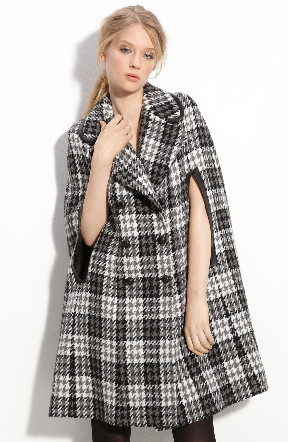 Main Image - Robert Rodriguez Wool Blend Houndstooth Cape