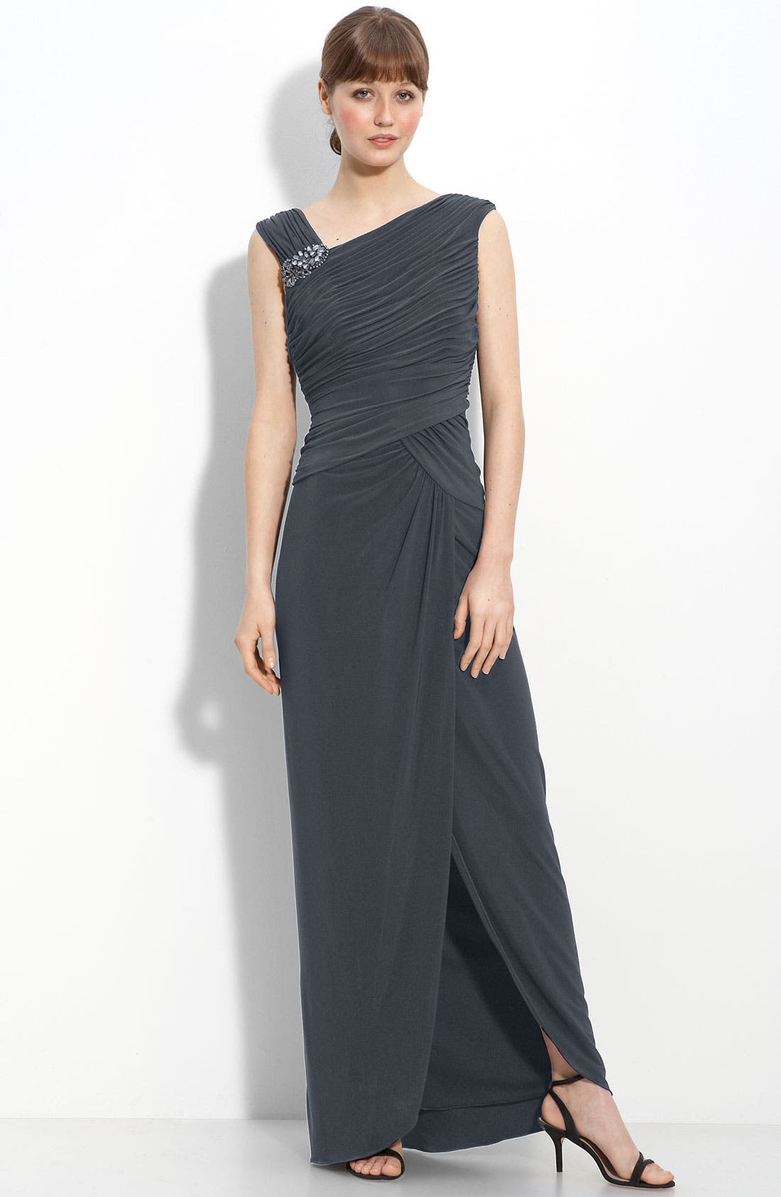 Main Image - Adrianna Papell Crystal Brooch Ruched Jersey Gown