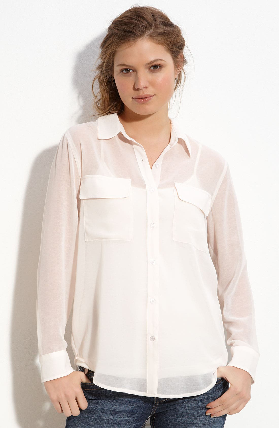 Alternate Image 1 Selected - Lush Button Front Blouse (Juniors)