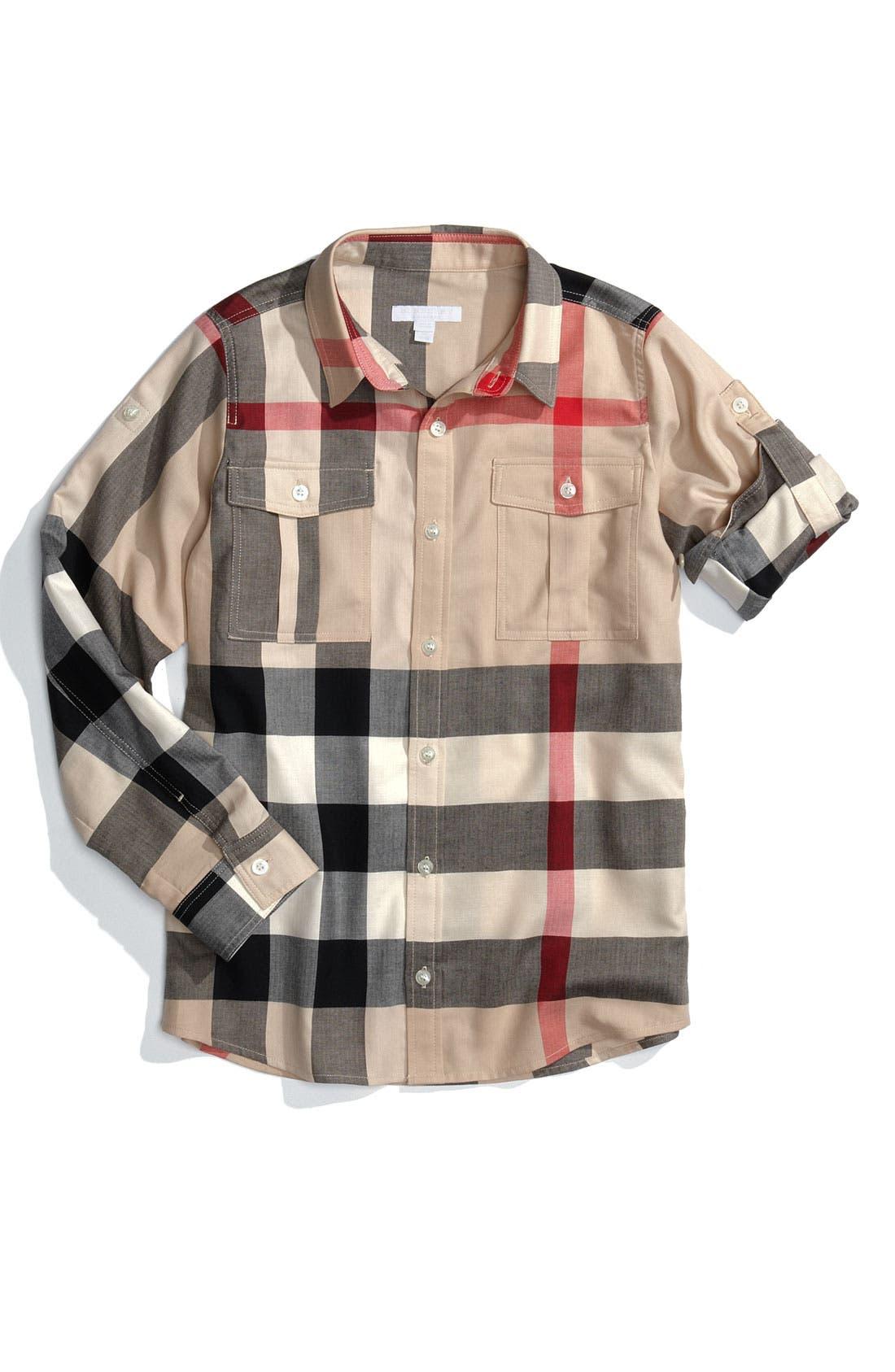 Main Image - Burberry Check Print Woven Shirt (Big Boys)