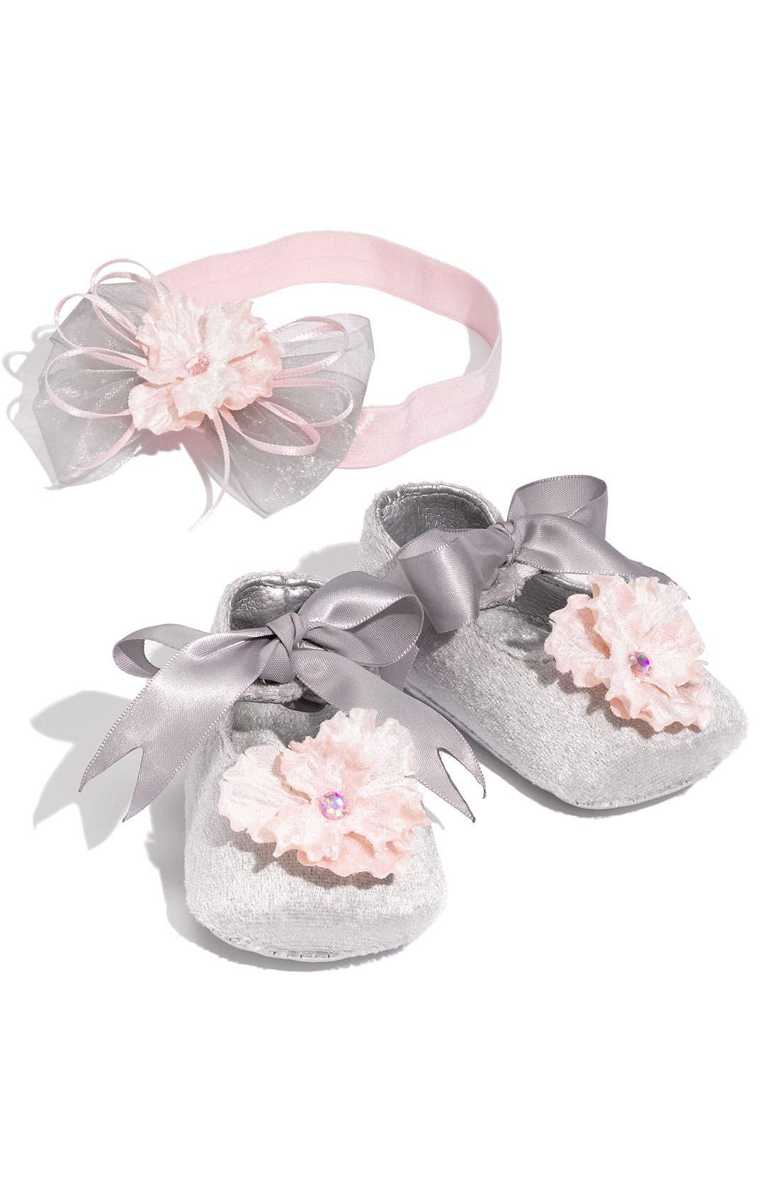 Main Image - PLH Bows & Laces Headband & Shoes Set (Infant)