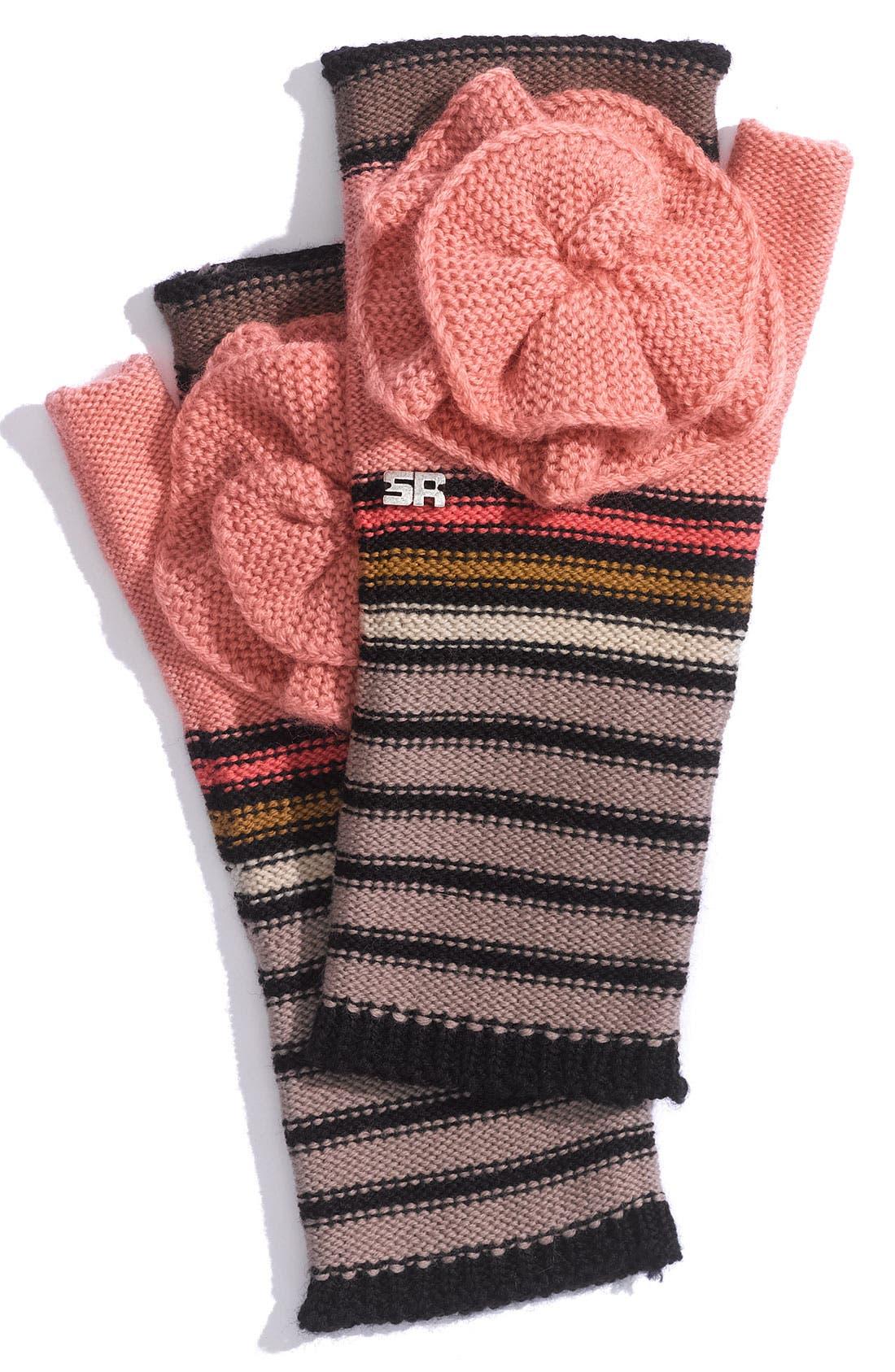 Main Image - Sonia Rykiel 'Flower' Stripe Fingerless Gloves
