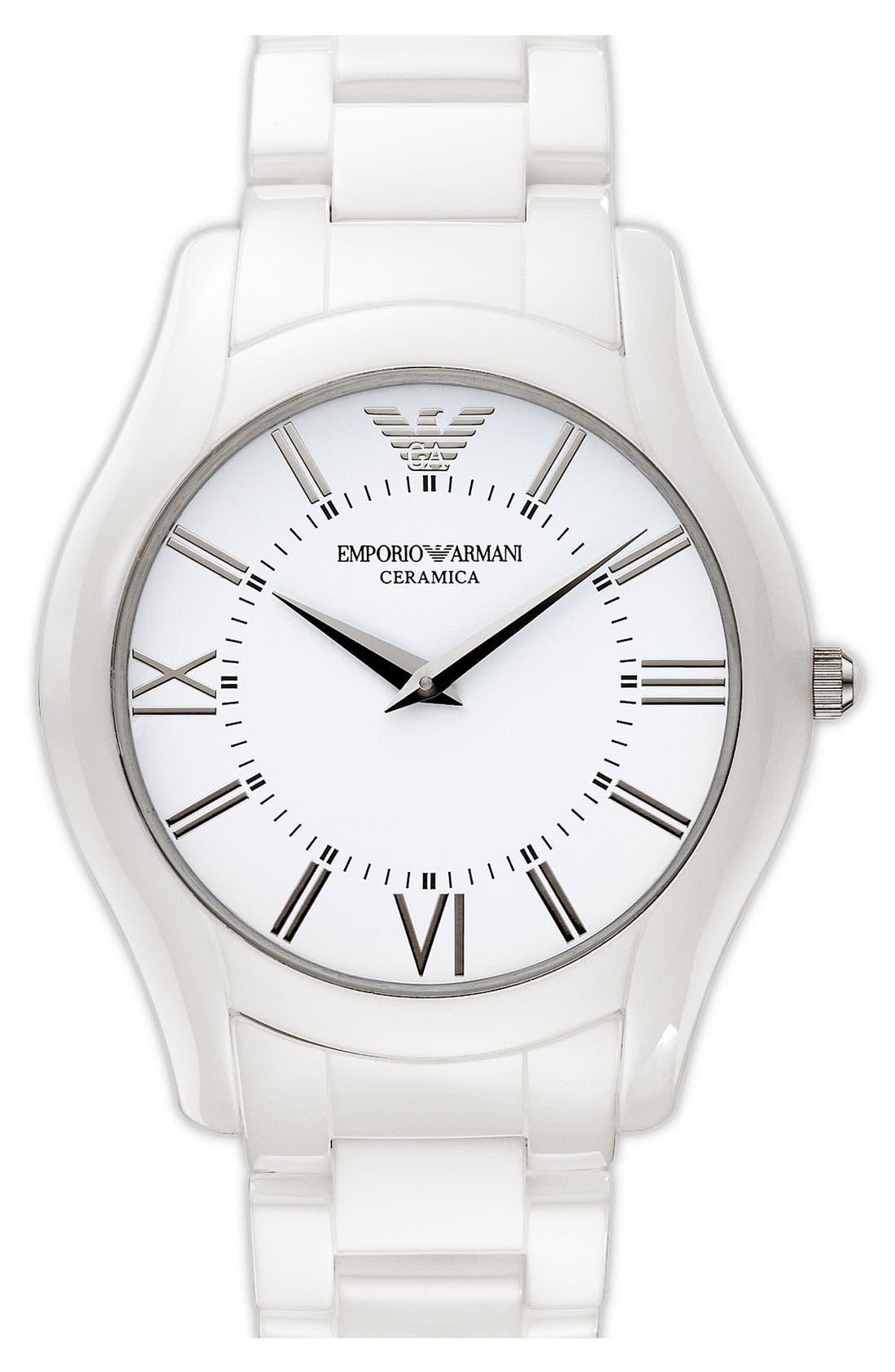 Alternate Image 1 Selected - Emporio Armani Large Round Ceramic Watch