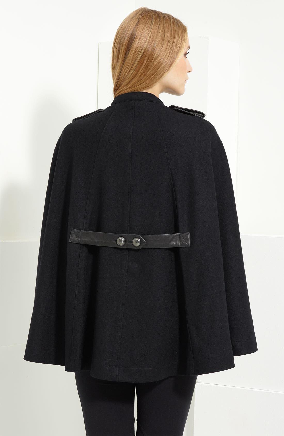 Alternate Image 2  - Burberry Brit Leather Trim Wool Cape