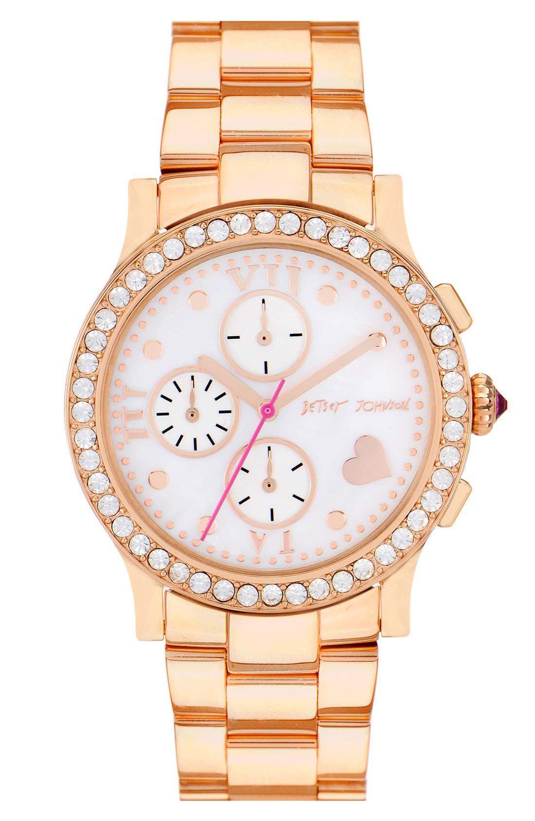 Alternate Image 1 Selected - Betsey Johnson 'Bling Bling Time' Bracelet Watch