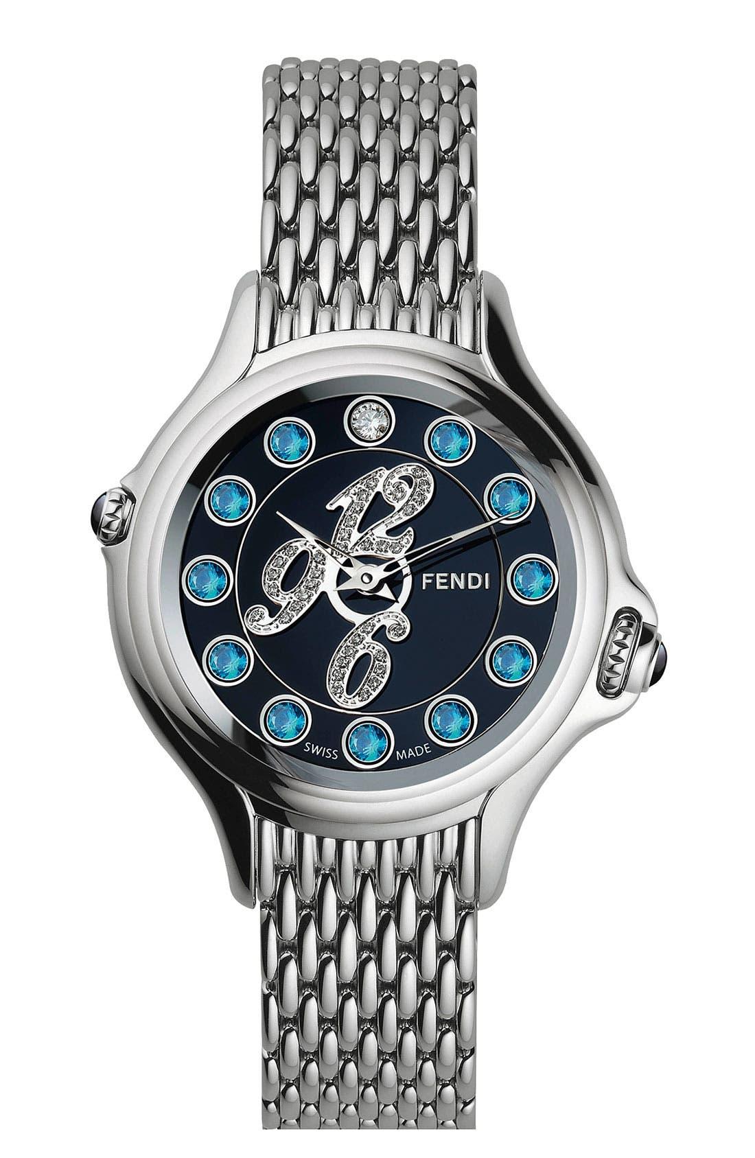 Alternate Image 2  - Fendi 'Crazy Carats' Black Dial Diamond Watch, 38mm